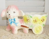 Vintage Shabby Cottage Chic Lamb With Cart Planter, So Adorable, Estate Find EUC