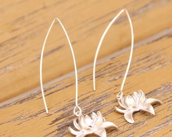 Lotus Flower Silver Earrings - Long