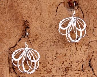 Matte Silver Fan Earrings - Light and Stunning