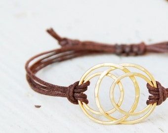 Multi-Circle Bracelet - Layered Circles with Waxed Cotton Cord