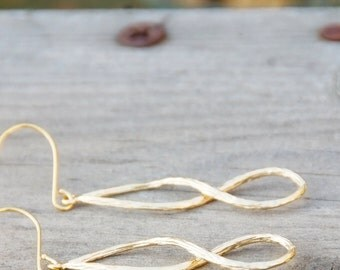 Matte Gold Textured Infinity Hoop Earrings