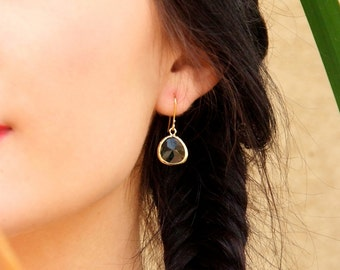 Glass Briolette Short Earrings - Gold and India Green Sparkling Earrings