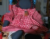 Black Americana Raggedy Ann Doll Faceless Red and White Checked Dress Valentine Gift