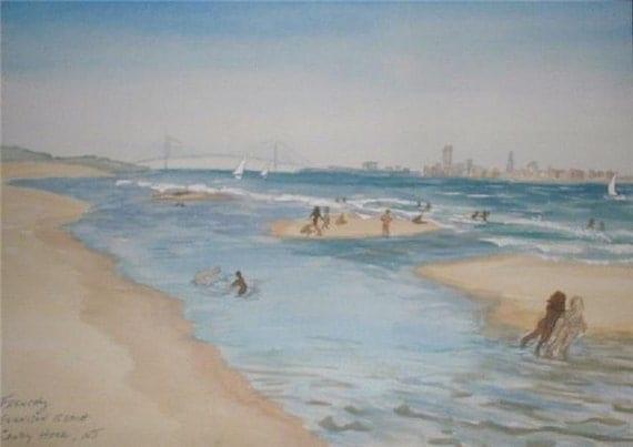 Items Similar To Gunnison Beach, Sandy Hook, New Jersey Seashore, Nude Beach, Original -6993