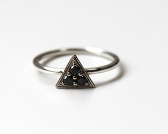 Triptych Ring -(Black Diamonds-14K white gold and silver)
