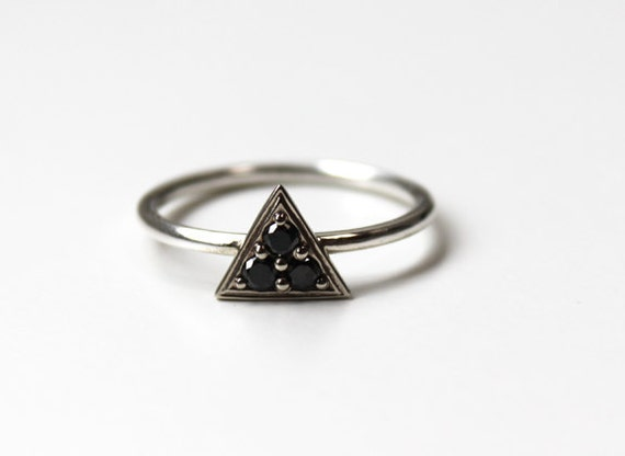 Triptych Ring -(Black Diamonds and 14K white gold)
