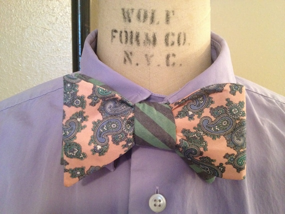 Reversible Pink Paisley and Sea-foam Stripe Bow Tie