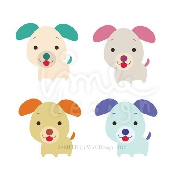 Cute Puppies Clip art color edition set B12