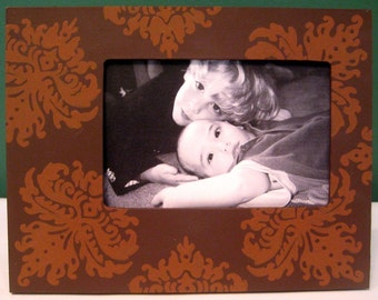 Hand Painted 4x6 Picture Frame Damask Chocolate Brown
