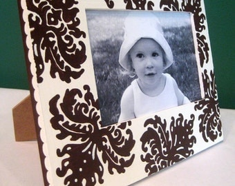 Chocolate Brown and White Damask Hand Painted 4x6 Picture Frame , Modern Home Decor ,
