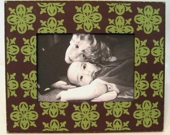 Eggplant and Green 5x7 Hand Painted Picture Frame
