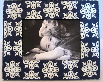 Hand Painted Picture Frame: Navy Blue and White 5x7