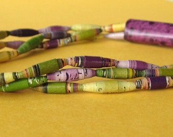 Purple, Green and Yellow - Bright and Bold Upcycled Necklace