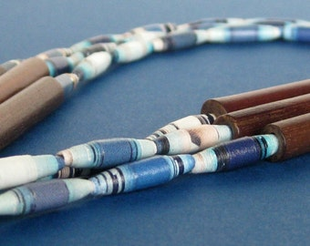 Blue Paper Bead Necklace with Wood Tube Beads - Three Strands