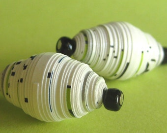Paper Bead Dangle Earrings - Black and White Speckled - Recycled, Upcycled and Eco