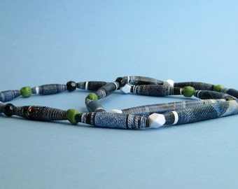 Denim Paper Bead Necklace - Upcycled Recycled and Eco