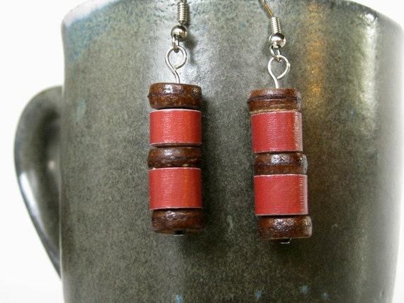 Red Paper Bead Earrings - Upcycled, Recycled, and Eco