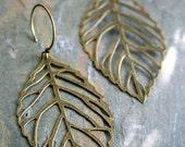 Autumn Leaf Earrings In Bronze