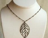 Modern Leaf Necklace in Antiqued Brass