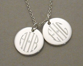 Circle Monogram necklace two engraved sterling silver 1/2 inch round circle disc charms- 2 UDLCIR