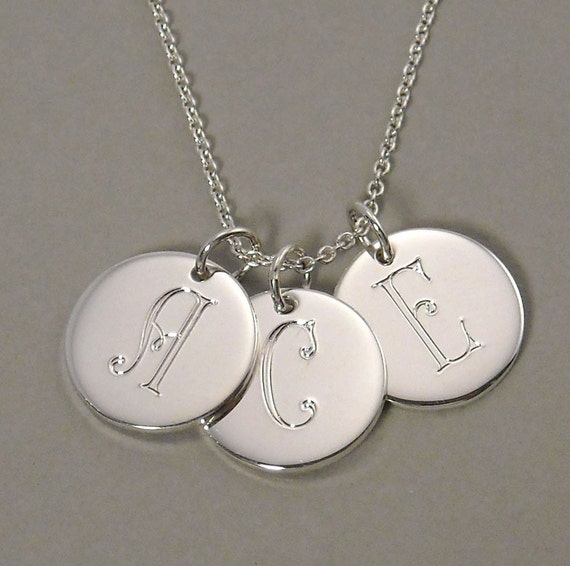 Initial charm necklace pendant personalized with engraved letter monograms three (3) 1/2 inch round circle charms sterling silver  - 3 UDLPB