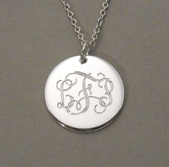 Initial monogram pendant necklace triple letter script sterling silver charm 5/8 inch round circle disc UTLIS