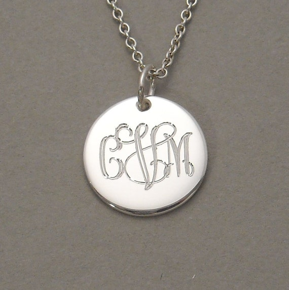 Personalized engraved pendant necklace triple initial sterling silver 1/2 inch round circle disc charm UTLIS