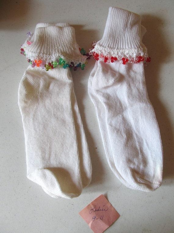 beaded pair of socks women size 9-11