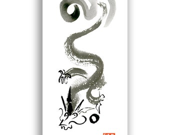 Dragon Chinese New Year Card, Postcard, Chinese Zodiac, House Targaryen, japanese style painting, taoist art, birthday card,  Free shipping