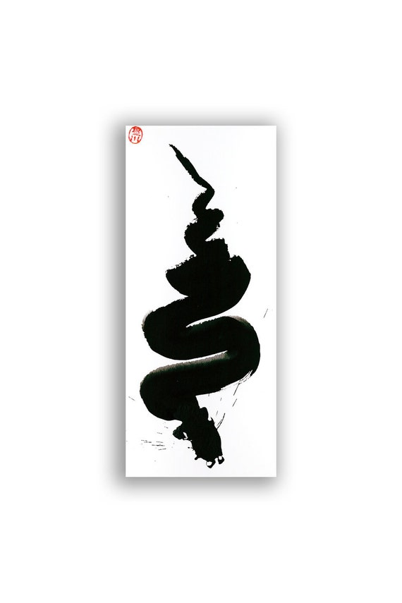 Year of the Snake 2013 Zen Art Original Painting for the Chinese New Year