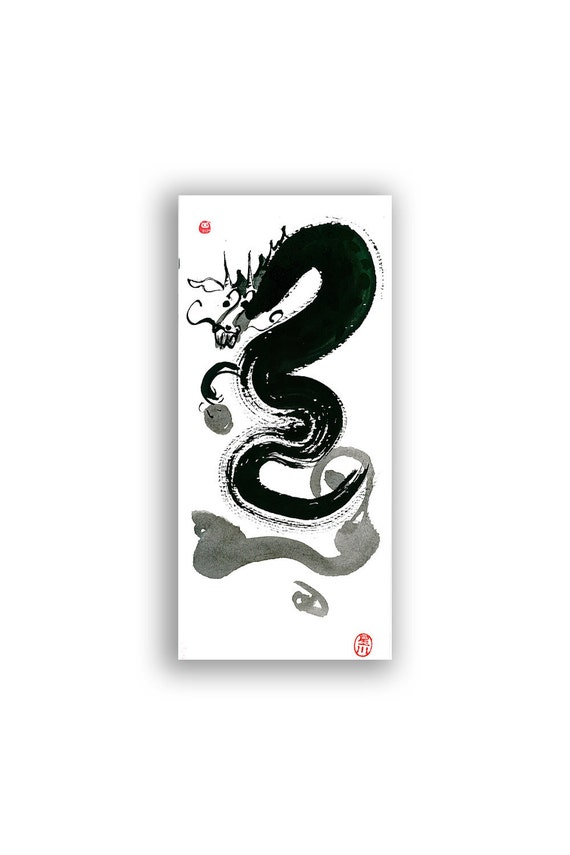 Year of the Dragon 2012 Zen Sumi Original Painting Art Chinese New Year Card