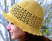 Hand crochet hat. Butter yellow sunhat. Pure cotton. One size fits all.  Made in Colorado.