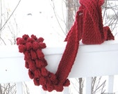 nit women scarf. Long scarf. Gift for her. Bobbles scarf. Vogue knitting pattern. Burgundy oxblood. Christmas Gift. Winter fashion
