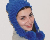 Earflap hat with bobbles and pompoms in blue heather color. Made of soft wool blend. Skiing and snowboarding. Handmade in Colorado US