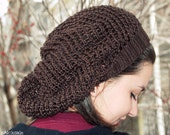 Hand knit hat. Chocolate brown slouchy mesh hat made of silky bamboo yarn. One size fits most.  Handmade in Colorado