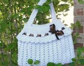 Crochet purse. Women handbag. Women purse. Handmade. Lace purse. Knit summer bag. Brown satin bow. Pastel colors. Mother's day gift.