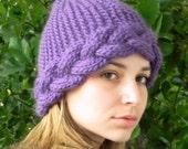 Knit womens hat. Pixie hat. Winter beanie. Braided headband. Handmade. Chunky wool hat. Purple orchid. Valentine's gift. Spring fashion.