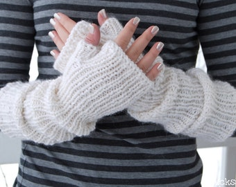 Knit Handwarmers. Long Mittens. Alpaca Blend. Off white pearl color.  Fingerless gloves. Winter fashion Elbow length. Christmas gift for her