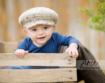Baby newsboy hat. Toddler newsboy hat. Boy newsboy cap. 12 to 24 months oatmeal color. Easter hat. Children Clothing. Boy hat. Scally cap.