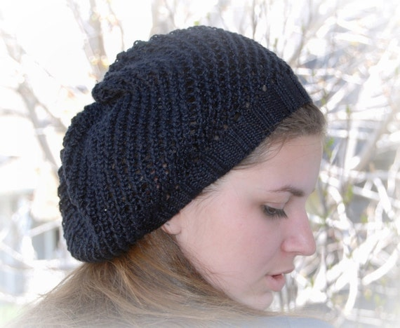 Handmade Knit Black Mesh Hat made of silky bamboo yarn. Fall Fashion.