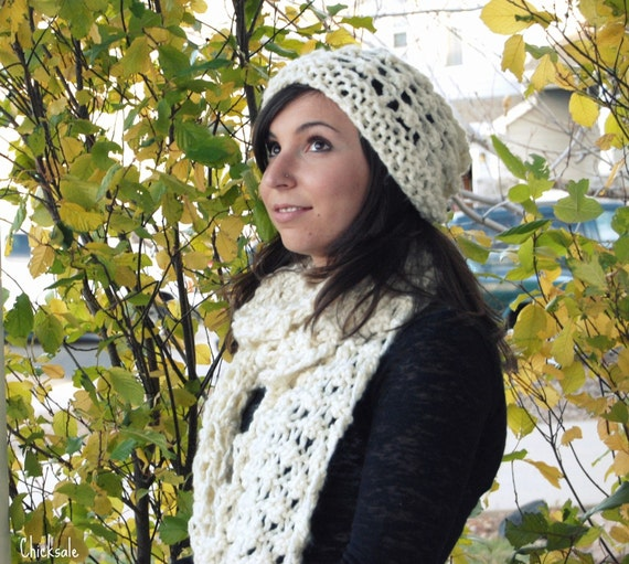 Handmade Scarf Beanie Set.  Knit opencut hat and scarf set made of chunky soft acrylic yarn. Handmade. Christmas gift