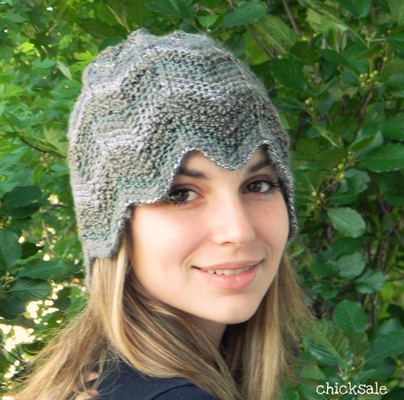 Fall Knit Fashion Chevron hat. Made of fancy multitexture yarn in gray shades. Autumn Spring. One size fits all. Handmade. Back to school.