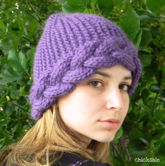 Knit womens hat. Pixie hat. Winter beanie. Braided headband. Handmade. Chunky wool hat. Purple orchid. Valentine's gift. Spring fashion.