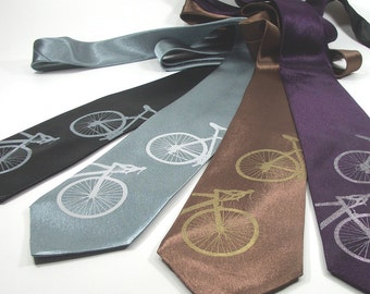 Silkscreened Mens Bicycle Tie - Premium Quality Microfiber Necktie - Gift Wrapped - Choose color and quantity