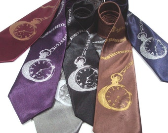Silkscreened Tie - Men's Pocket Watch Necktie - Premium Quality Microfiber Tie - Choose your color - Gift wrapped