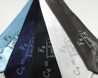 Science Tie - Drag Coefficient - Premium Quality Microfiber Tie - Gift Wrapped - Choose color and quantity