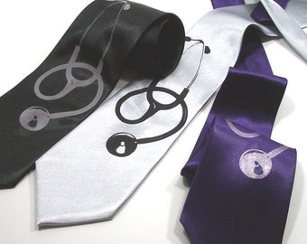 Doctors Necktie - Stethoscope - Microfiber Tie - Choose your color and quantity - Gift Wrapped