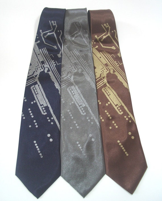 Short Circuit - hand screened silk tie in three color choices