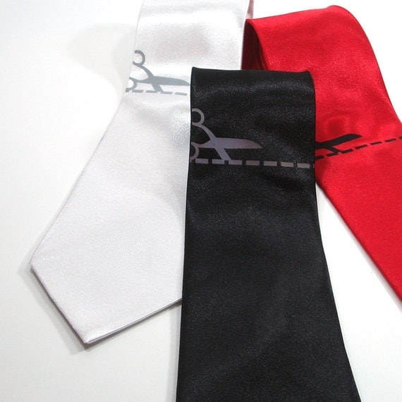 Cut Here Men's Tie - Premium Quality Screenprinted Necktie - Gift wrapped - Choose color and quantity