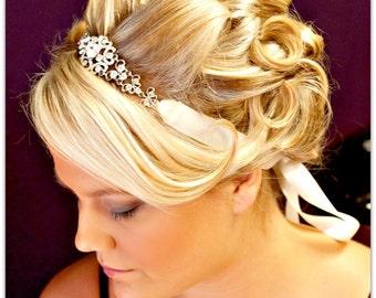 Bridal Ribbon Rhinestone Headband,wedding hair accessories,bridal headband rhinestone,wedding headband crystal,bridal headpieces,wedding